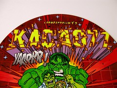 KACAO77 UNIVERSES 2012 / GRAFFITI ON VINYL / HULK OUT! (KACAO77 UNIVERSES) Tags: original fiction man color berlin green art geometric monster matrix illustration digital america writing germany comics toys photo artwork iron neon comic dj transformation graphic bruce letters banner style science exhibition pop player tony m collection doctor cover camouflage captain lp record letter laser marker shield block hawkeye concept dual hulk conceptual marvel stark 95 avengers 2012 glm busters universes the sammlung kakao schallplatte scheibe arist schallplattenspieler kacao77 kacao kakao77