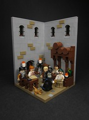 An Adventure Brews (Walter Benson) Tags: castle classic bar lego gorilla barrels pirates ale kitty whiskey scene spanish tavern area rum vignette diorama classicpirates collectibleminifigure