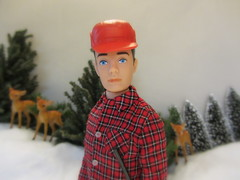 Ken: Friend of the Animals and Nature Lover (Foxy Belle) Tags: winter snow vintage hunting ken barbie going 16 diorama foxybelle playscale brunettedeer