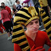 A contestant dons an Egyptian inspired costume while taking part in the Krispy Kreme Challenge.