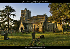 St Helens, Edlington, Lincolnshire (Paul Simpson Photography) Tags: pictures uk trees sunset england tower grass sunshine evening photos lincolnshire gravestone burial snowdrops hdr sthelens burialground lincs sthelen englishchurch churchphotos eastlindsey edlington paulsimpsonphotography