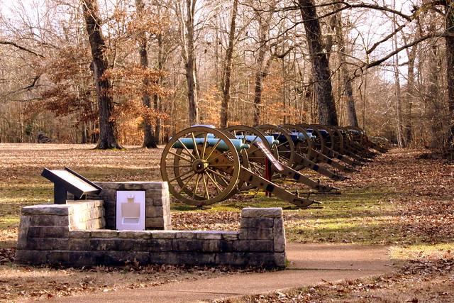 Shiloh Battlefield: Line of Cannons in a Field