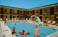 Surf & Bay Motel, Wildwood, New Jersey (SwellMap) Tags: sun pool architecture swimming vintage advertising design pc 60s fifties postcard suburbia style motel kitsch retro swimmingpool nostalgia chrome pools swimmer americana 50s roadside poolside googie populuxe sixties babyboomer consumer coldwar midcentury spaceage aquatics atomicage