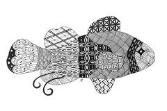 Fish (ilienne) Tags: blackandwhite fish animal zoo zentangle