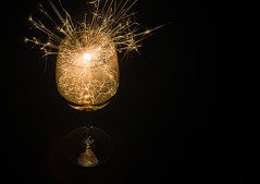 Sparkling wine anyone? (OzzRod) Tags: lightpainting black pentax fireworks wineglass sparkler lightbox k50 smcpentaxm40mmf28 pentaxart 52project2016