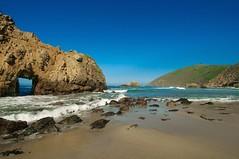 Out the Door (kirstenscamera) Tags: california ca door green beach nikon rocks waves bigsur sunny bluesky pch pacificocean cave centralcoast pfeiffer pfeifferbeach pfeifferstatepark