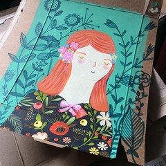 Into the wild...  Doodle illustration (waltersilvausa) Tags: woman girl illustration painting ginger mixedmedia redhead doodle florals floralpattern recycledcardboar