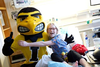 Herky visits UI Children's Hospital