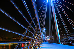 Blue (Tedz Duran) Tags: uk bridge england urban london metal thames architecture night river photography lights europe nightscape steel jubilee hungerford embankment tedzduran
