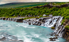Hraunfossar Falls (Jonny Fay) Tags: road blue sky cliff sun mountain mountains green ice nature water june clouds river landscape waterfall iceland nikon rocks stream mood moody view natural hill scenic dramatic ring solstice edge vista fjord hillside drama d800 2014 hraunfossar cliffside