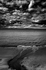 River Delta. (jetcitygrom) Tags: seattle sky bw white black beach nature clouds river bay stream waterfront natural delta alki editing gr ricoh tone elliott lightroom