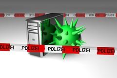 Computer mit Virus und Polizei-Band vorn und hinten (www.elbpresse.de) Tags: digital computer technology hacker antivirus polizei virus trojaner malware berwachung technologie nsa viren sicherheit