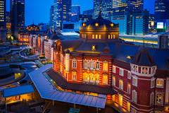 Tokyo Station Blue Hour (marco ferrarin) Tags: light building japan tokyo illumination railway bluehour tokyostation dignity redbrick marunouchi  kitte  garedetokyo    bahnhoftokio