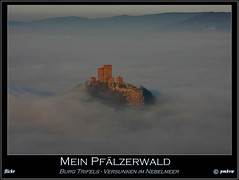 Mein Pflzerwald - Der Trifels (pmbvw) Tags: world get castle colors fog clouds canon germany deutschland evening abend nebel inversion schloss turm wald pfalz rlp rheinlandpfalz pflzerwald weinstrasse annweiler trifels aussichtsturm palatina sdpfalz sw pflzer palatinate suew suedliche 40d rehberg inversionswetterlage pmbvw worldgetcolors