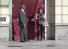 Cigarette 52 (Andy WXx2009) Tags: urban woman sexy men stockings girl sunglasses fashion wales europe highheels legs artistic cigarette candid cardiff streetphotography style smoking suit bags scarfe blackmen mygearandme