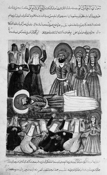 Иллюстрация, изобрпажающая часть битвы при Кербеле (династия Каджаров)