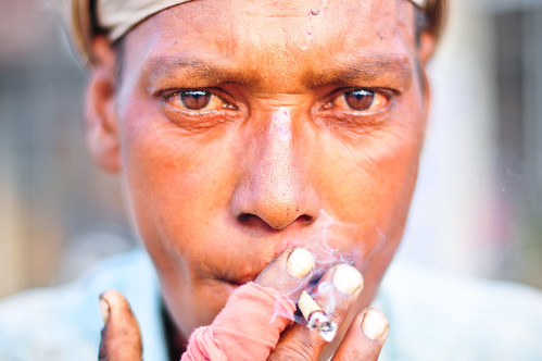 Portrait of an Indian Man Smoking a Cigarette