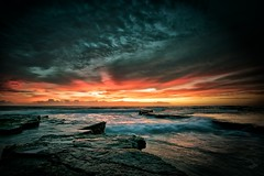 Tempestuous [ EXPLORE ] (James.Breeze) Tags: ocean seascape beach water sunrise landscape rocks raw waves seascapes cloudy sydney australia nsw breeze reef saltwater northernbeaches beachsunrise canonef1740mmf4l flickrxmas bestofaustralia jamesbreeze magicalskies