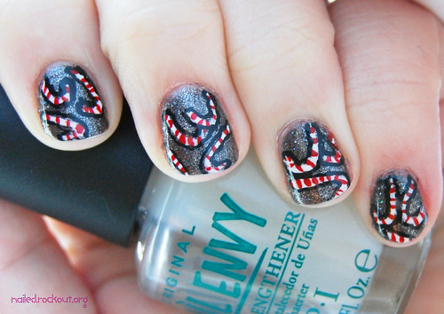 12 days of holiday nail art, day candy cane!