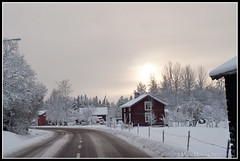 Sun trying to get through (mmoborg) Tags: winter snow vinter sweden transport transportation sverige snö dalarna 2011 mmoborg mariamoborg