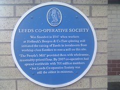 Photo of Leeds Co-operative Society blue plaque
