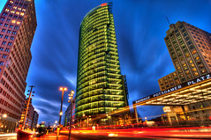 Potsdamer Platz at Night (Sprengben [why not get a friend]) Tags: world china city winter summer sky music newyork paris berlin art japan clouds skyscraper observation lights amazing nikon traffic artistic time gorgeous awesome hamburg illumination police style bahnhof symmetry divine international stunning potsdamerplatz batman metropolis charming foreign sheraton fabulous walkoffame hdr linear englandlondon gothamcity engaging bahntower travelphotography d90 photomatix chrislerbuilding newyearseve travellight d3s sprengbenurban silvester2012