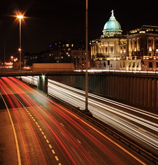 Mitchell Library and M8 Light Trails, Glasgow (shotlandka) Tags: road street city longexposure travel light urban architecture canon scotland motorway glasgow library transport m8 mitchell canoneos500d mygearandme mygearandmepremium mygearandmebronze