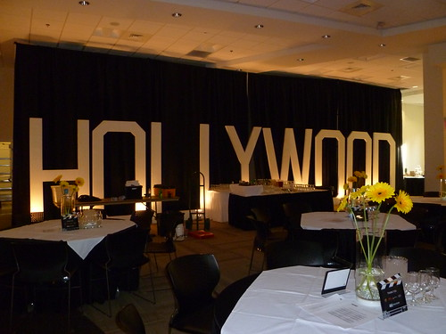 Giant Hollywood Sign With Black Draping For A Movie Theme Party In Simple Hollywood Sign Decoration