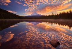 Mackerel Sky, Trillium Lake, Horizontal (Chip Phillips) Tags: sky usa lake reflection water oregon sunrise mackerel volcano trillium cascades hood