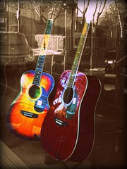 Runcorn Music Shop (PaulEBennett) Tags: reflection guitar shopwindow runcorn frailers