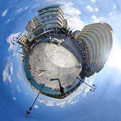 Halkis City, Greece -1 (amfipolos) Tags: photoshop 360 greece sonycybershot polarcoordinates chalkida chalkis halkida παραλία littleplanet polarpanorama halkis stereographicprojection πλατεία χαλκίδα