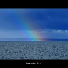 Rainbow (nora2810) Tags: blue colour nature beautiful norway norge rainbow oslofjord lier buskerud fujifilmfinepixs9500 storsand