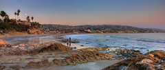 Laguna Beach Panorama (Eddie Yerkish) Tags: ocean california people panorama moon beach water sand marine rocks waves shoreline tourist moonrise shore palmtree laguna tidepools hdr lagunabeach marinelife eddieyerkish