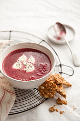 Beetroot soup (StuderV) Tags: food soup nikon cream spoon vegetable cracker beetroot foodphotography foodstyling d700 tabletopstyling