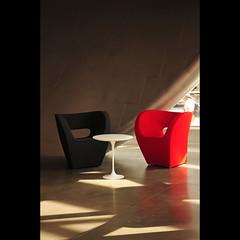 the lobby (anniedaisybaby) Tags: light shadow red canada black architecture modern edmonton furniture contemporary interior culture retro sleek aga artgalleryofalberta sirwinstonchurchillsquare