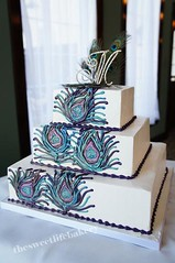 Peacock Feather Wedding Cake (The Sweet Life Bakery NJ) Tags: blue wedding cake purple teal squareweddingcake peacockweddingcake