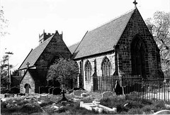 St Mary's Church, Bushbury p/633 (WAVE:Galleries, Museums, Archives of Wolverhampton) Tags: trees windows brick tower church graveyard stone churches stainedglass graves belltower spire burial leaded lead tombs collectionitem wolverhamptonartsandheritagecollections