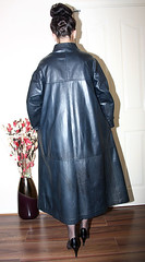 blue leather governess long mac (sheerglamour) Tags: leather fetish mac long heels satin pvc governess
