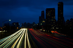 Lakeshore Dr light trails (rseidel3) Tags: chicago cars skyline night clouds nikon traffic lighttrails
