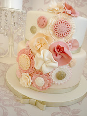 Ruffle flower birthday cake (The Designer Cake Company) Tags: pink flower peach ivory birthdaycake button rosette ruffle