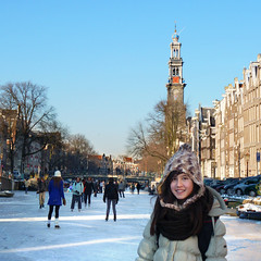 Samantha ice-skating on Amsterdam's canals (Bn) Tags: winter people cold holland ice netherlands dutch amsterdam geotagged frozen topf50 downtown iceskating skating joy kinderen nederland freezing first canals age skate prinsengracht temperature mokum occasion rare grachten pleasure skates blades winters stad harsh jordaan 2012 westertoren d66 ijs gluhwein schaatsen koud westerkerk amsterdamse ijspret hendrick chocolademelk grachtengordel 7c hollandse oudhollands 50faves gekte winterse sferen avercamp geo:lat=52373055 geo:lon=4882972 ijzers ijsplezier jordanezen ijsnota