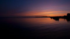 Sunset in the corner (Bereno DMD) Tags: ocean blue sunset sea color reflection beach water weather evening spring twilight dusk connecticut pano panoramic atlantic bluehour beachhouse panoramicshot southendpoint