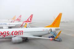 Foggy Morning Flight (_Codename_) Tags: fog plane turkey airplane pegasus istanbul tiltshift pegasusair