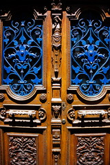 Porte fer bleu (haijee13) Tags: door wood old blue france st french doors 15 bleu porte flour auvergne bois fer ancienne portes cantal sculpt stflour forg
