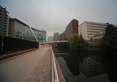 Irwell (sfryers) Tags: bridge santiago tower ex architecture modern river manchester footbridge contemporary sigma pylon trinity calatrava salford dg 1224 irwell cablestayed ultrawideangle 14556