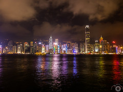 P1050278 (srodgers87) Tags: hot skyline night buildings river hongkong warm neon cloudy humid