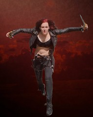 The Sinister Blade (i) (sarah-sari19) Tags: autumn woman fall girl leather outside costume october cosplay sinister makeup redhead blade knives redhair scar katarina leatherjacket assassin leagueoflegends thesinisterblade