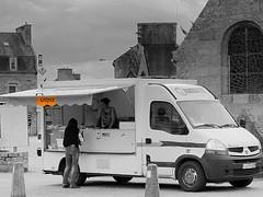 Mobile Breton crepe market - Plouguin (patrick_milan) Tags: street people blackandwhite bw white black monochrome noir noiretblanc bretagne nb rue blanc personne streetview gens finistre plouguin