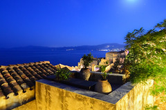 Blue Night (free3yourmind) Tags: blue roof sea moon night greece moonlight monemvasia