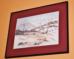 Winterscape Original (bigbrowneyez) Tags: trees winter sky stilllife snow mountains art nature beautiful painting artwork rocks artist framed creative scene watercolour lovely mypainting artful winterscape ringexcellence